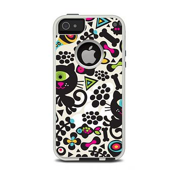 The Cute, Colorful One-Eyed Cats Pattern Apple iPhone 5-5s Otterbox Commuter Case Skin Set