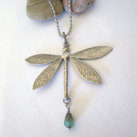 Dragonfly Necklace - Pendant - Antique Silver by 636designs