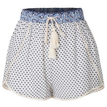 LE3NO Womens Summer Floral Print Tassel Tie Loose Shorts with Elastic Waistband