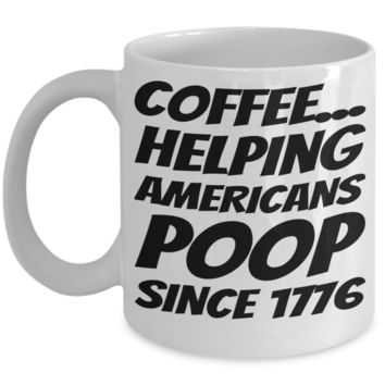 Pooping Coffee Mug Funny Coffee Gifts For Grandparents Gift For Grandma Granddad Holiday Funny Tea Coffee Mugs Cups Candy Cookie Jar Americans Poop Since 1776