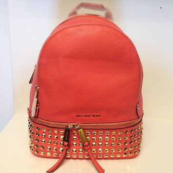 Michael Kors Rhea Women's Small Studded Backpack Bag Leather (One Size US Women, Pink