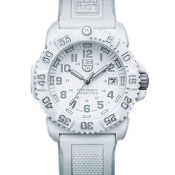 Luminox All-White 38mm Navy Seal Colormark - Silicone Strap - Always Visible