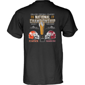 NCAA Alabama Crimson Tide Vs Clemson Tiger 2016 National Title Football Game Black T-Shirt