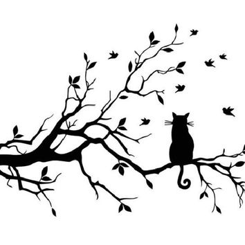 Cartoon Cat On Long Tree Branch Wall Decal