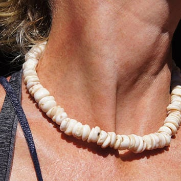 Vintage Hawaiian Puka Shell Necklace Surfer Jewelry