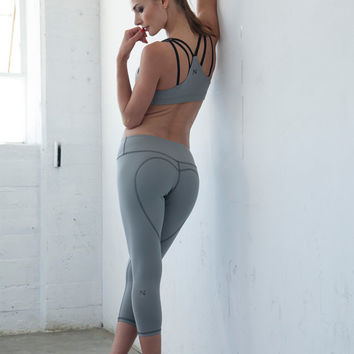 PRE-ORDER Light Grey Heart Butt™ Yoga Capris - Compression Clothing - Women's Clothing & Yoga Apparel - Yoga Leggings - Activewear - B007