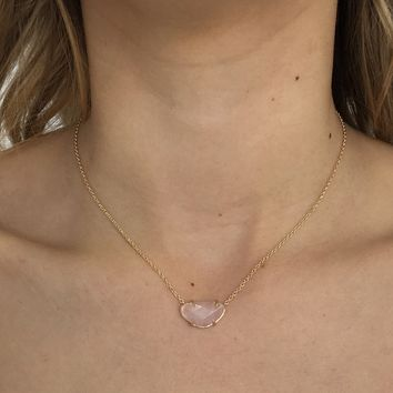Pale Pink Stone Necklace in Gold