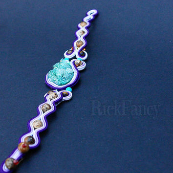 Bohemian bracelet, Soutache bracelet, agate druzzy mineral, purple jewelry, gift for women, mineral jewelry, colorful jewelry