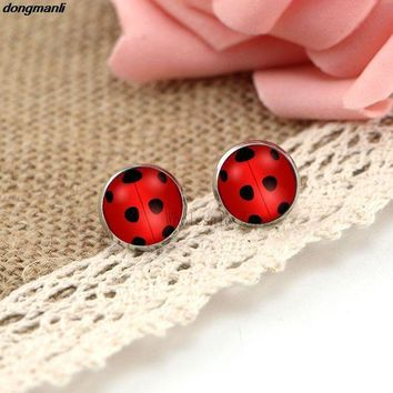 PEAPGC3 WS1688 Miraculous Ladybug Stud Earrings glass Circle Animal Earrings for Girls Cat Noir Miraculous Ladybug Anime Jewelry