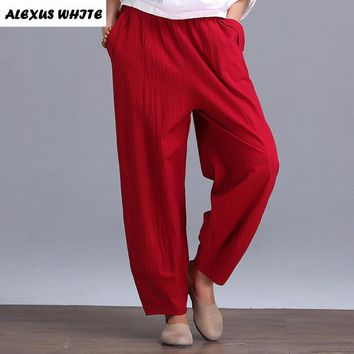Retro Cotton Linen Pantalettes Female 2017 Summer Women's Casual Large Size Pants Loose Art Trousers for Woman Bloomers