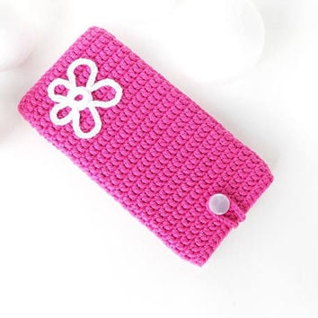 Flower Samsung A5 phone cover, Fuschia Alcatel U5 case, vegan Honor 8, Sony Xperia XA1 cozy, Moto G5 pouch, iPhone 7 sock, Samsung S8 cover