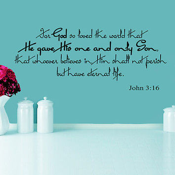Wall Decal Bible Verses Psalms John 3:16 For God So Loved Vinyl Sticker DA3574