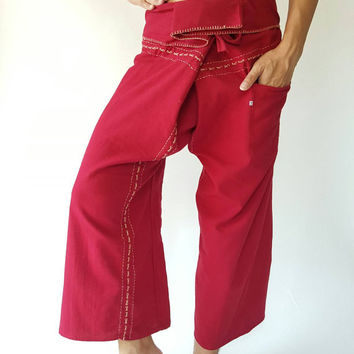 F8045 Handmade Thai Fisherman Pants Wide Leg pants, Wrap pants, Unisex pants