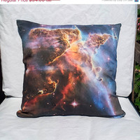 "ON SALE Carina Nebula Detail 16"" x 16"" Pillow Cover: Digital NASA Space Photo on Cotton Fabric / Red, Brown, Orange, Blue"