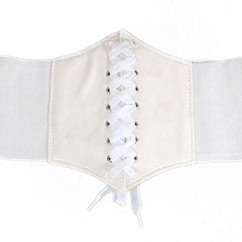 'Smoke' Lace-Up Corset Belt - White