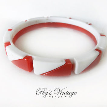 Unique Lucite Red And White Two Piece Bangle, Vintage Bracelet Costume Jewelry