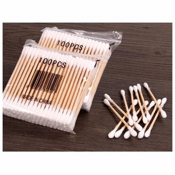 5 Pack/ lot Women Beauty Makeup Cotton Swab Double Head Cotton Buds Make Up Wood Sticks Nose Ears Cleaning Cosmetics Health Care
