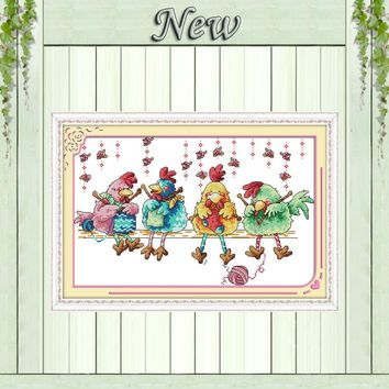 The chicken knitting a sweater  Cross Stitch Needlework kits