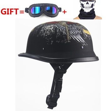 NEW!German Motorcycle WWII Style Half Helmet Chopper Biker Pilot Goggles Open Face Moto Motocicleta with free goggle and mask