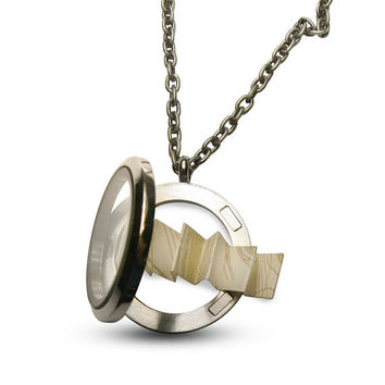 Floating Charm Locket - Secret Message  - Can Also Hold Photos - Hidden Message- Stainless Steel-Chain Included