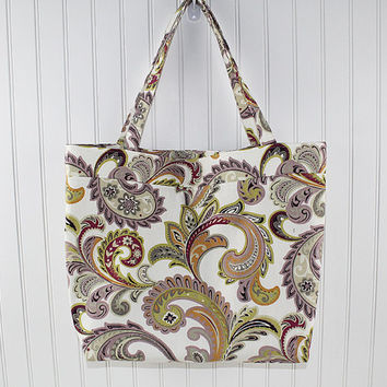 Purple Paisley Print Large Tote Bag, Farmers Market Bag, Reusable Grocery Bag, MK140