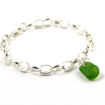 Leaf Green Sea Glass and Sterling Silver Bracelet 7mm links