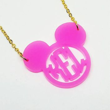 Mouse Ears Acrylic Block Monogram Necklace