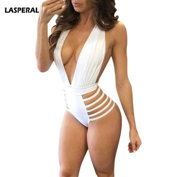 LASPERAL 2018 Sexy Bandage One Piece Swimsuit Women Halter Swimwear Hollow Out Monokini Female Bodycon Bodysuit Maillot De Bain
