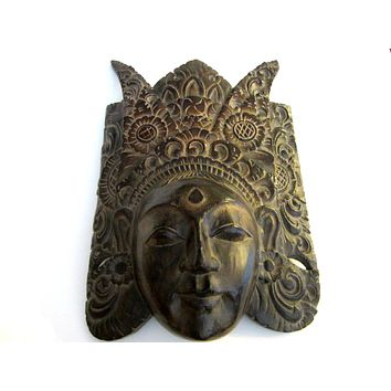 Barong Style Ceremonial Wood Carving Facial Mask Made in Indonesia