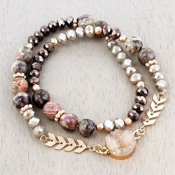 BROWN DRUZY AND GOLD-TONE CHEVRON BEADED WRAP BRACELET