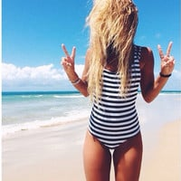 Women Strappy Backless Striped One Piece Swimwear Bathing Suit
