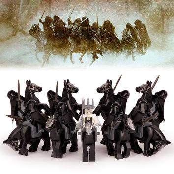 18pcs/lot The Lord of The Rings Nine Nazgul with Horse Witch-king of Angmar Sauron's Servants Building Blocks Children Gift Toys