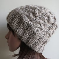 Hand-knit, Super-Soft, Double Cabled, Slouchy, Beanie Hat