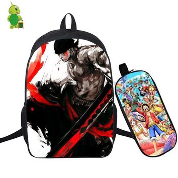 Anime Backpack School kawaii cute One Piece 2 Pcs/Set Backpack School Bag for Teenage Boys Girls Daily Laptop Backpack Luffy Ace Law Printed Travel Bags AT_60_4