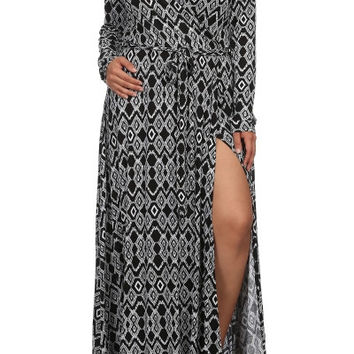 Plus Size Black Diamond Pattern Wrap Style Maxi Dress