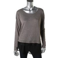 WallpapHer Womens Knit Lace Trim Pullover Top
