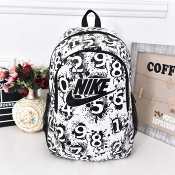 """Nike"" Sport Hiking Backpack College School Travel Bag Day pack number White"