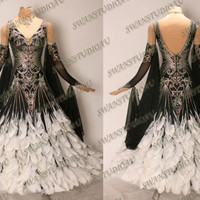 BRAND NEW READY TO WEAR BLACK GEORGETTE BALLROOM COMPETITION DRESS SIZE:6
