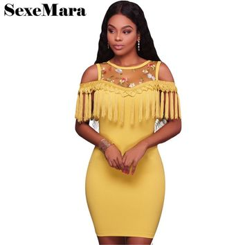 Mesh floral embroidery tassel midi bandage dress high quality new 2017 fall sexy club dresses bodycon party dresses D52-AC60