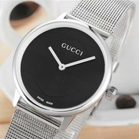 GUCCI 2018 new fashion casual double G waterproof watch F-CTZL silver/black