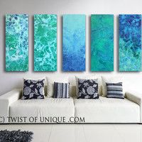 Sea glass Abstract Painting / ORIGINAL Painting  ( 48 Inch x 15 Inch)/ Industrial watercolor painting / Green, Blue, Sea glass, Ocean, water