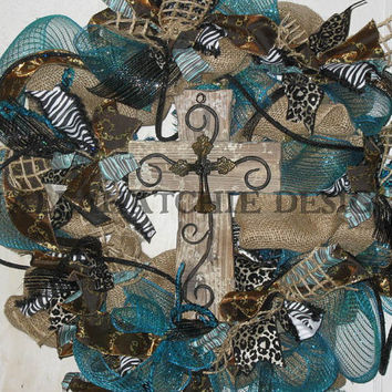 Burlap And Turquoise Deco Mesh Wreath Deco Mesh Wreath Burlap And Turquoise Cross Wreath Burlap & Turquoise Wreath With Animal Print th