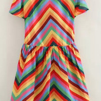 Rainbow Print Short Sleeve Skater Dress