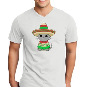 Cat with Sombrero and Poncho Adult V-Neck T-shirt by TooLoud