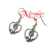 BEAUTY AND THE BEAST Rose Heart Earrings