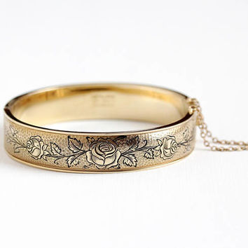 Vintage 12k Yellow Gold Filled Hinged Rose Flower Bangle - 1940s Floral Vine Black Enamel Taille d'Epargné Bracelet Jewelry Signed Hayward