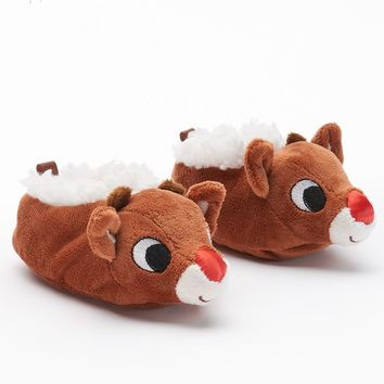 Rudolph the Red Nose Reindeer Bootie Slippers - Baby Neutral (Brown)