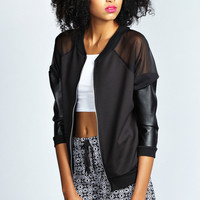 Ella Sheer And PU Panel Bomber Jacket