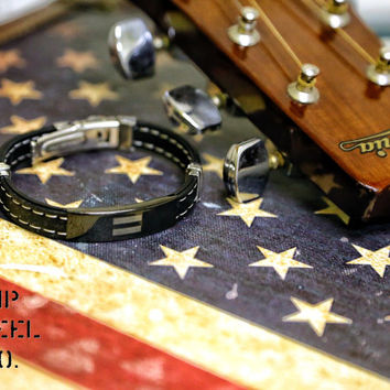 Stainless Steel Equal Sign ID Plate Stitch Accent Rubber Bracelet