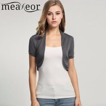 9461ead8b802b Meaneor Knitted Cardigan Pleated Sides Womens Jacket Crop Top Bo